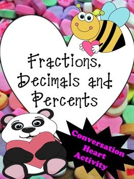 This is a fun activity that uses conversation hearts to reinforce the relationship between fractions, decimals, and percents.  This is a great activity that will keep your students engaged!  Fun! Food! Activity!