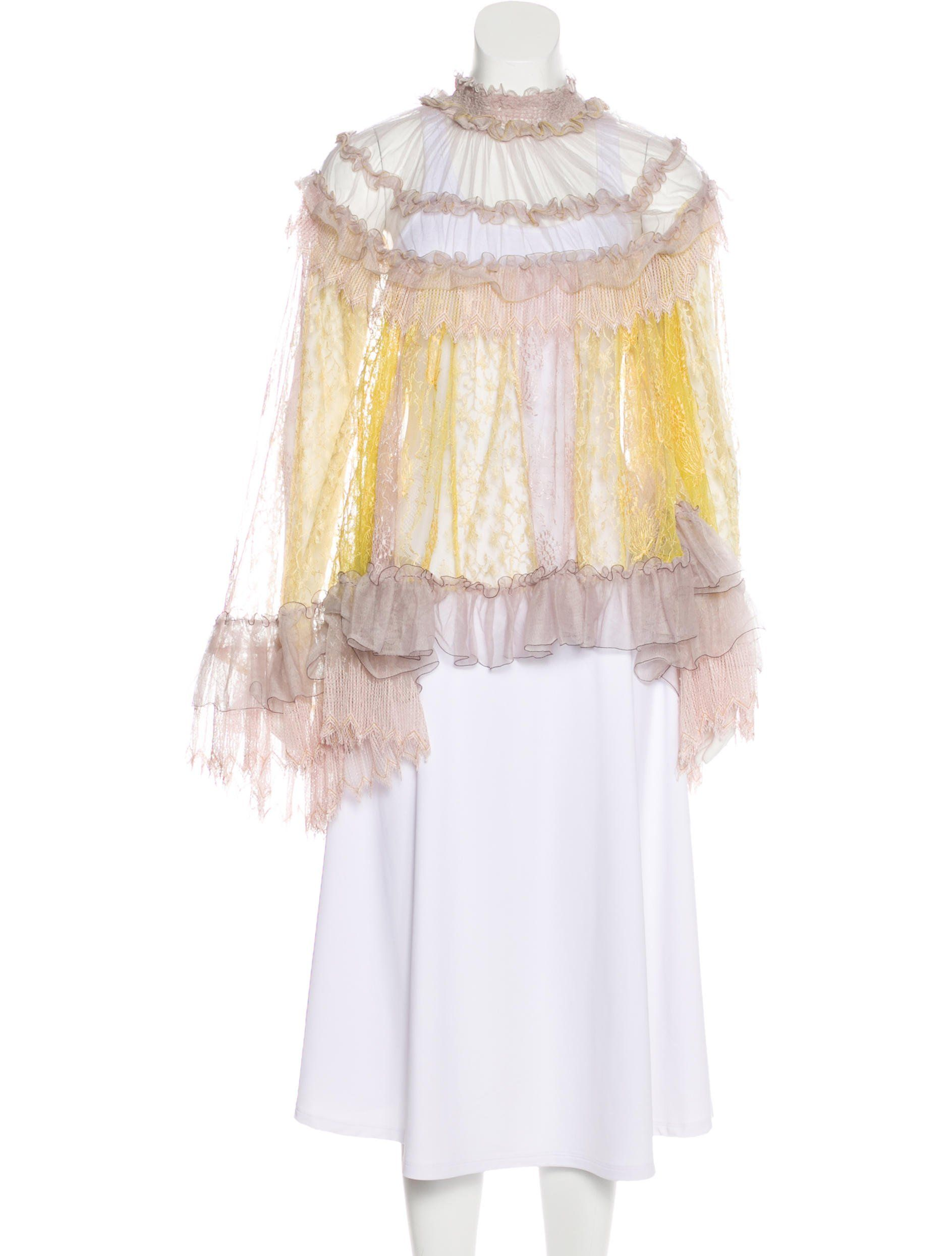 Purple And Yellow Chloa C Sheer Top With Lace And Ruffle Trim Throughout Mock Neck And Long Sleeves Sheer Lace Top Lace Sheer Lace [ 2489 x 1887 Pixel ]