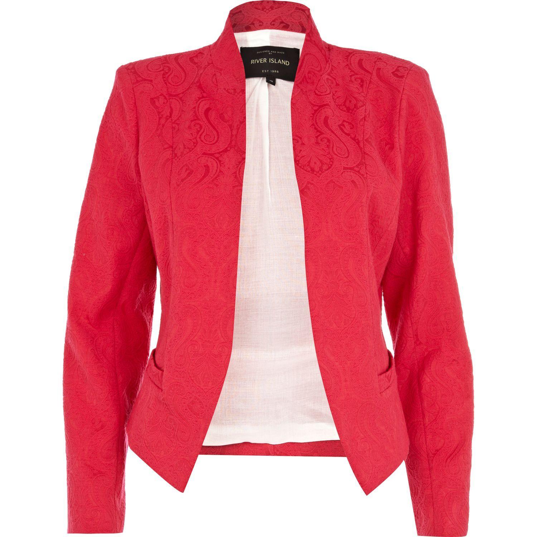 Pink Jacquared unfastened blazer #riverisland