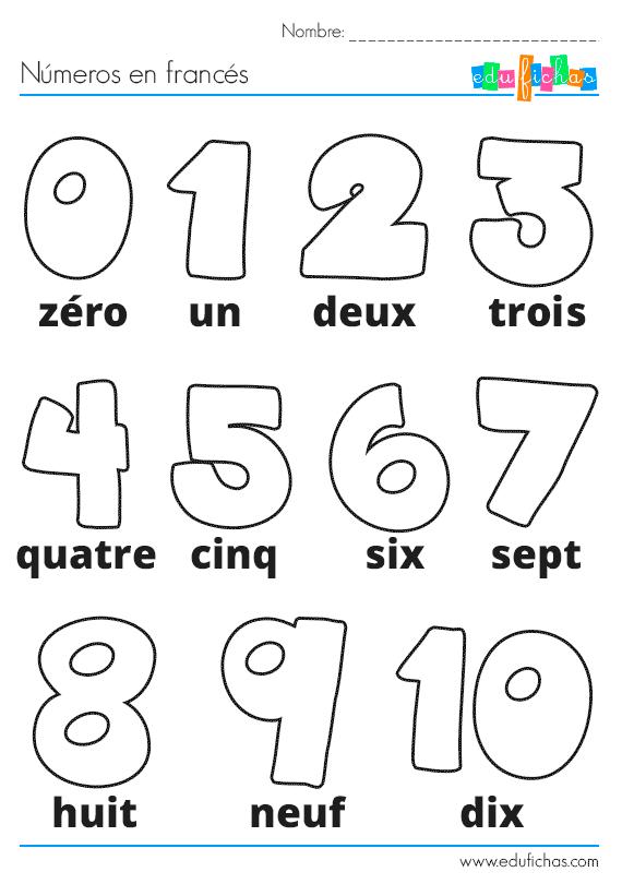 Ficha de actividades infantiles con los números en francés para ...