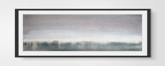 Misty Dawn Original watercolor painting by VESNAsART on Etsy