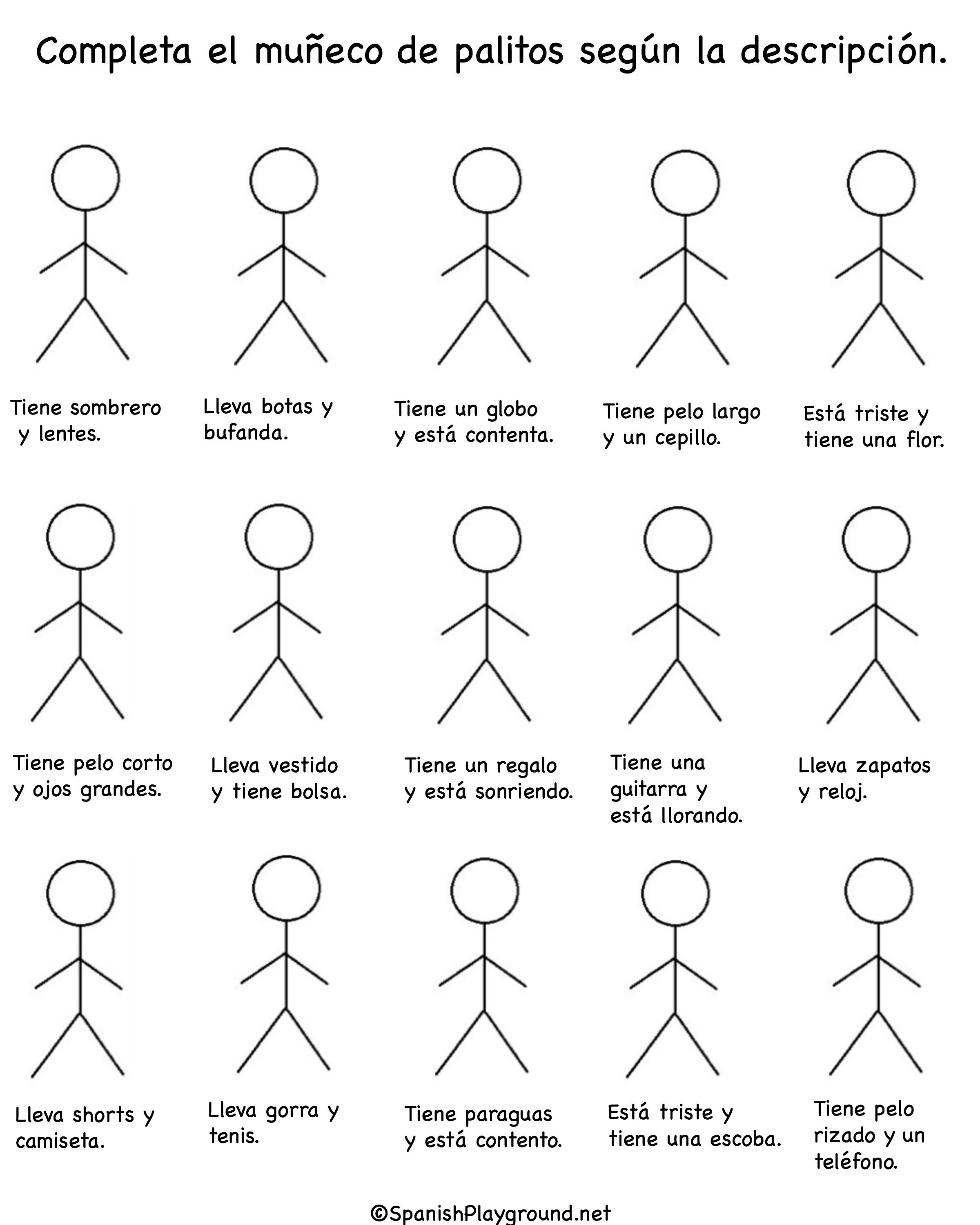 Complete The Stick Man According To The Given Instructions School