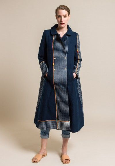 Pero Wool and Silk Lined Long A-Line Coat in Blue