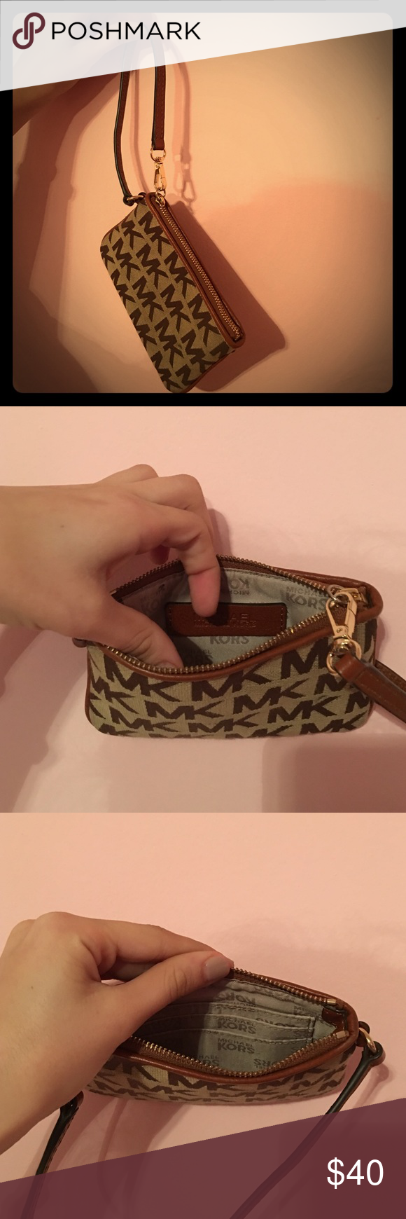 Authentic Micahel Kors Wristlet wallet/cardholder. used once, just like new! Tan/brown Leather with cream inside and gold accent details. Michael Kors Accessories Key & Card Holders