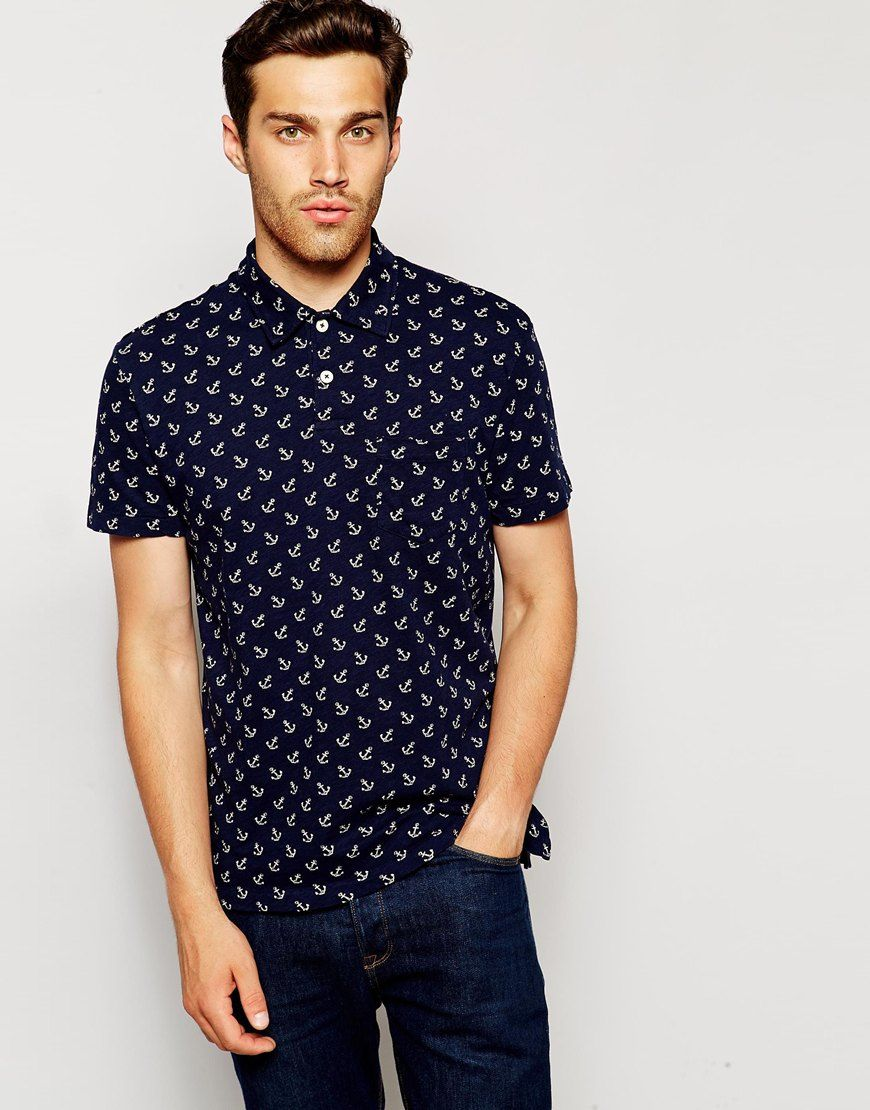 Polo Ralph Lauren Polo Shirt With Anchor Print In Navy For Men