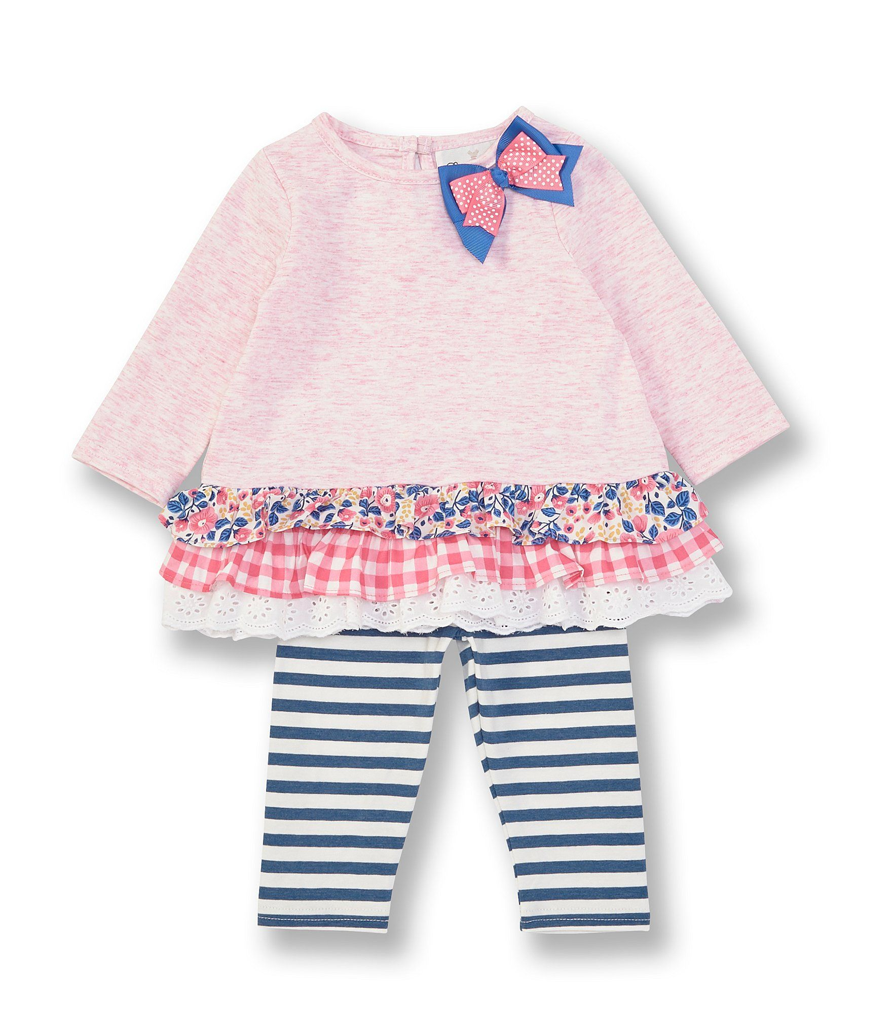 Photo of Rare Editions Baby Girls Newborn-24 Months Long-Sleeve Heathered Mixed-Media Top  Striped Leggings Set – Pink 3/6