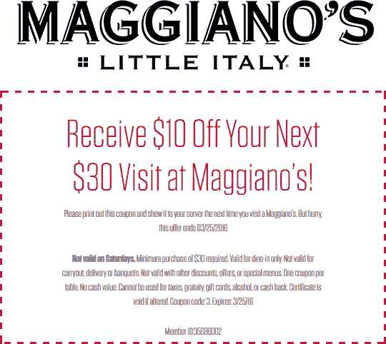 photo about Maggianos Printable Coupon identified as Pinned March 22nd: $10 off $30 at Maggianos #Very little Italy