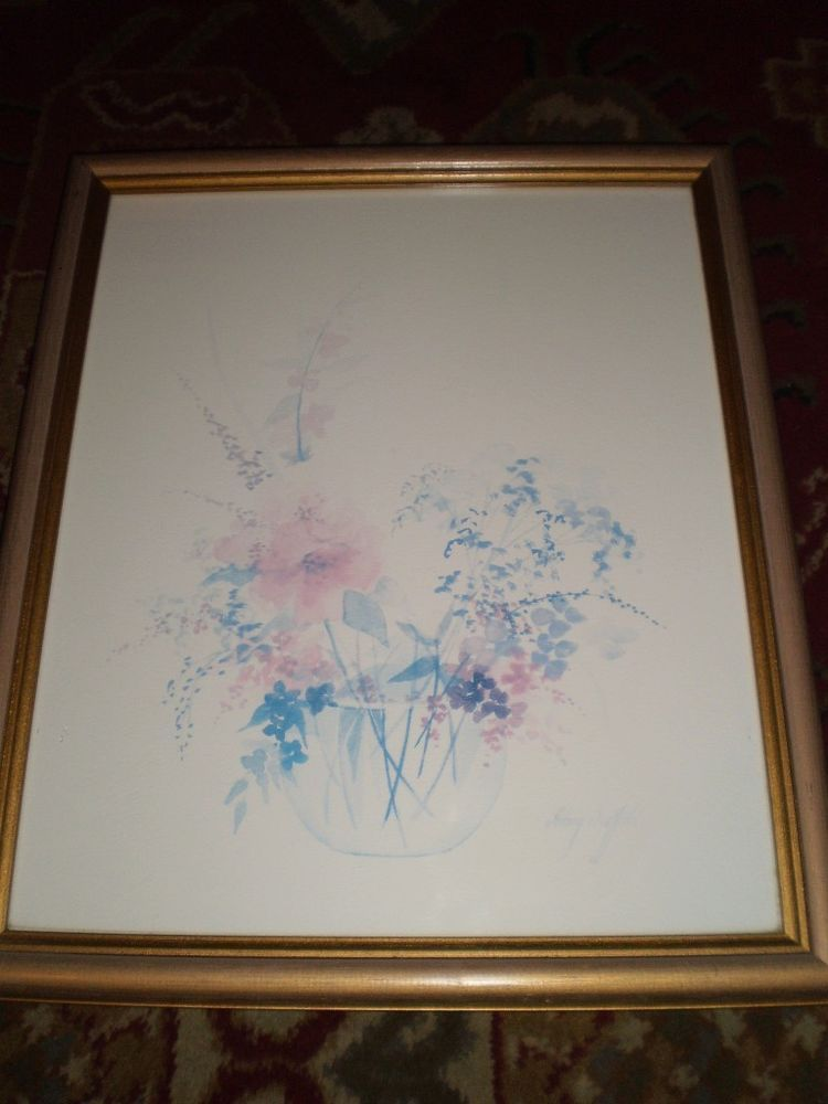 LARGE Framed WATERCOLOURS PRINT Floral Flowers Signed HILARY ...