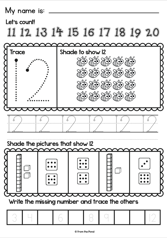 Numbers To 20 Worksheets From The Pond Number Worksheets Numbers Kindergarten Number Worksheets Kindergarten