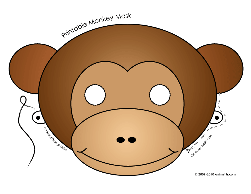 It is a picture of Monkey Mask Printable with vintage monkey
