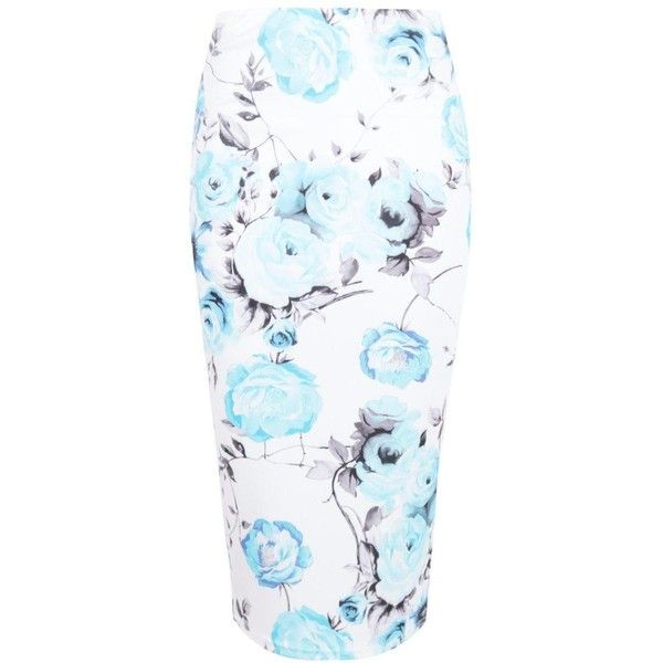 Lillian Large Floral Bodycon Midi Skirt ($11) ❤ liked on Polyvore featuring skirts, flower print midi skirt, floral print midi skirt, flower print skirt, knee length bodycon skirt and floral printed skirt