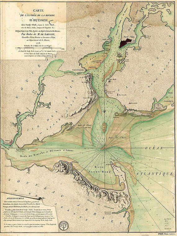Vintage Shore Maps Maritime Soundings Map Lower Manhattan Hudson and East Rivers 1972 New York Harbor