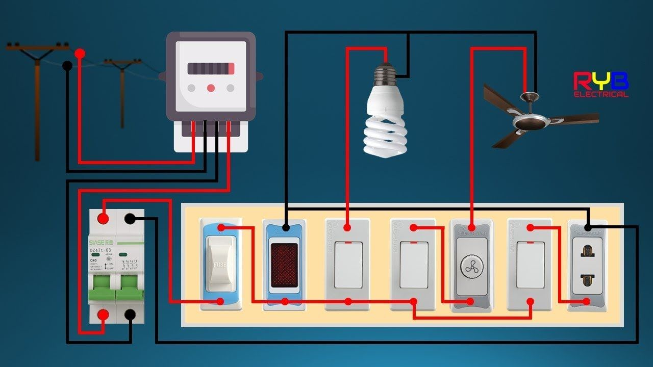 Electrical Switch Board Wiring Diagram Diy House Wiring Youtube In 2020 House Wiring Electrical Switches Electrical Wiring Diagram