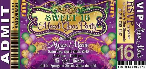 Download Now Free Template Free Printable Sweet 16 Birthday Invitations Sweet Sixteen Birthday Invitations Mardi Gras Invitations Birthday Invitation Templates