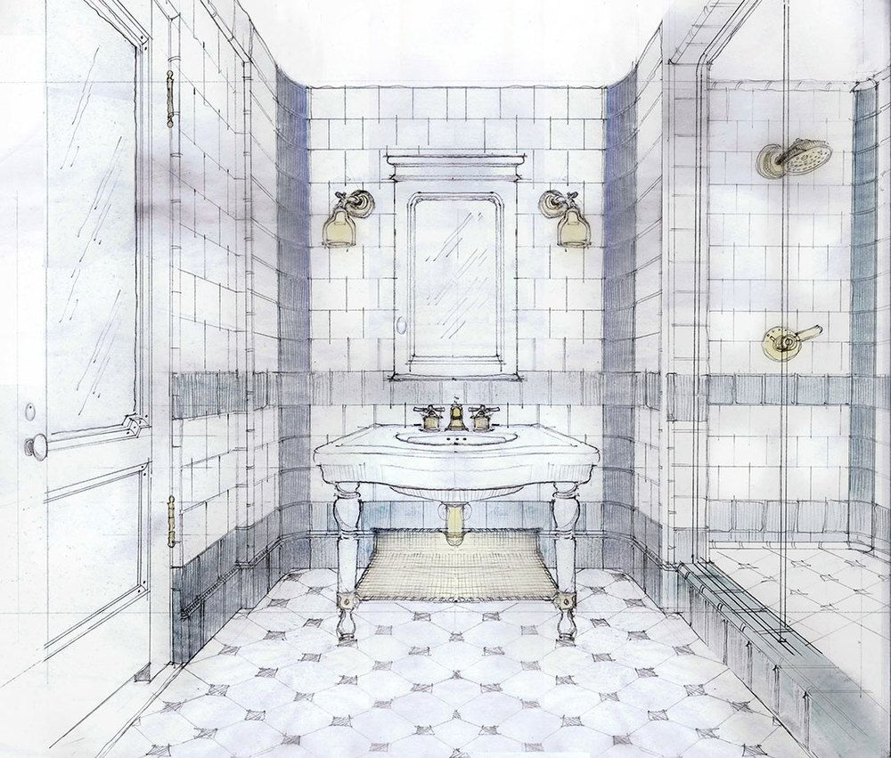 Bathroom perspective drawing - Hotel Emma Bathroom Drawing By Stephen Alesch Interior Design By Roman And Williams