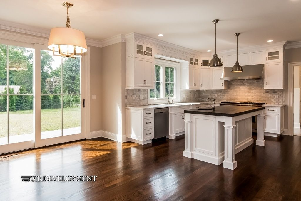 An Oddly Shaped Kitchen Island: Traditional Kitchen With Dishwasher, Pendant Light