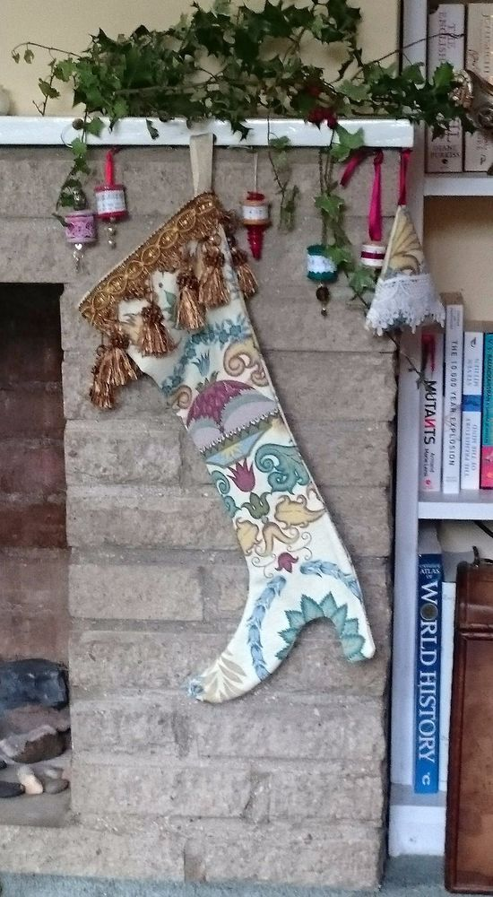 Luxury Christmas boot stocking to conceal that special gift: Floral/gold