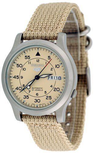 Seiko Snk803k2 Men S Seiko 5 Automatic Beige Fabric Watch Seiko 5 Automatic Watch Seiko Watches For Men