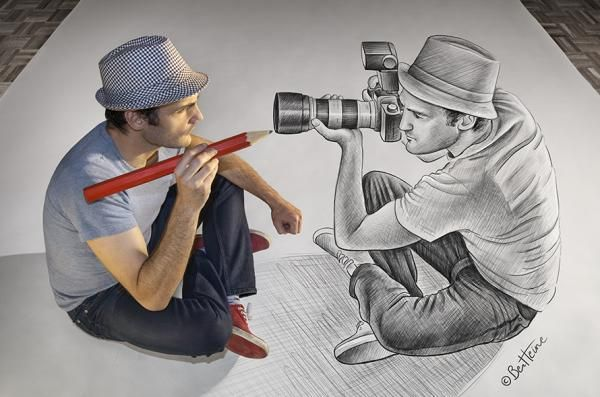 """Ben Heine is a Belgian multidisciplinary visual artist. He is best known for his original series """"Pencil Vs Camera"""", """"Digital Circlism"""" and """"Flesh and Acrylic""""."""