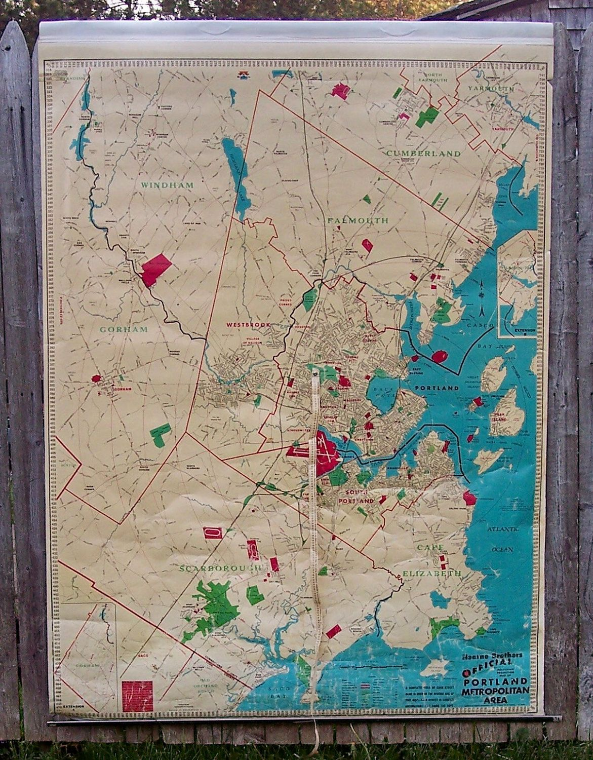 Vintage Pull Down Map of Portland Maine Large Roll up Hearne