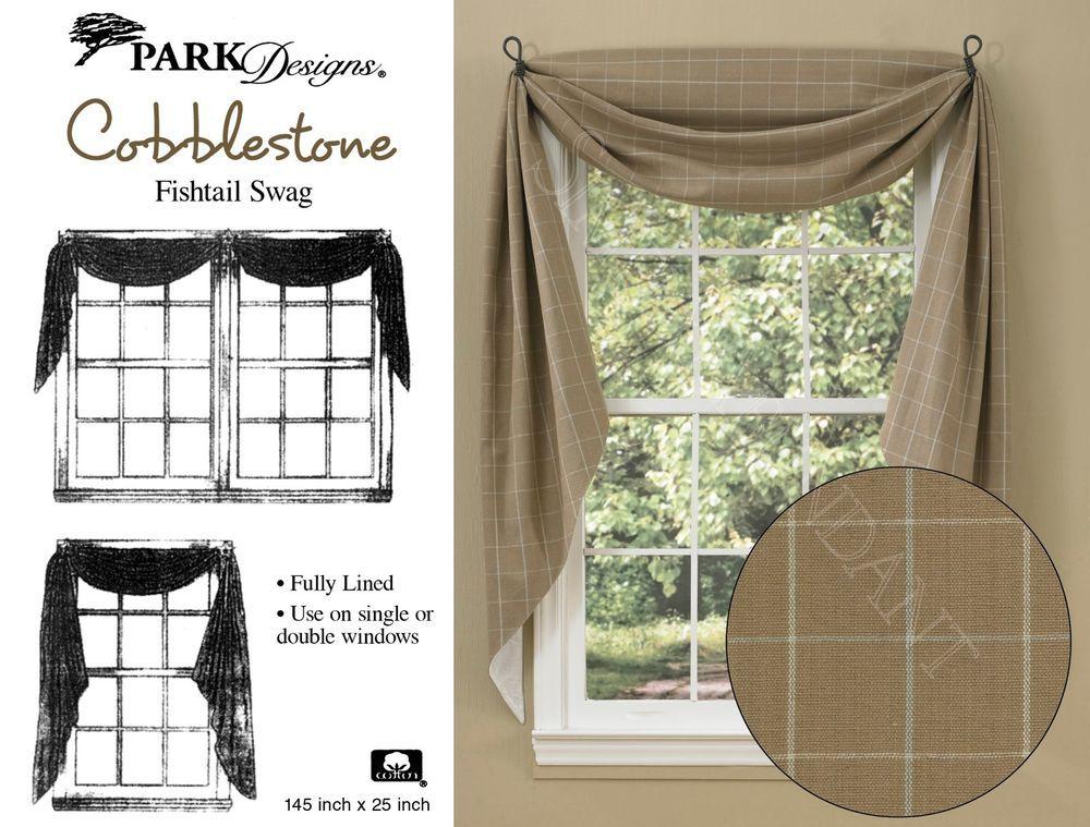 Windowpane Design Cobblestone Fishtail Swag Burlap Look Tans