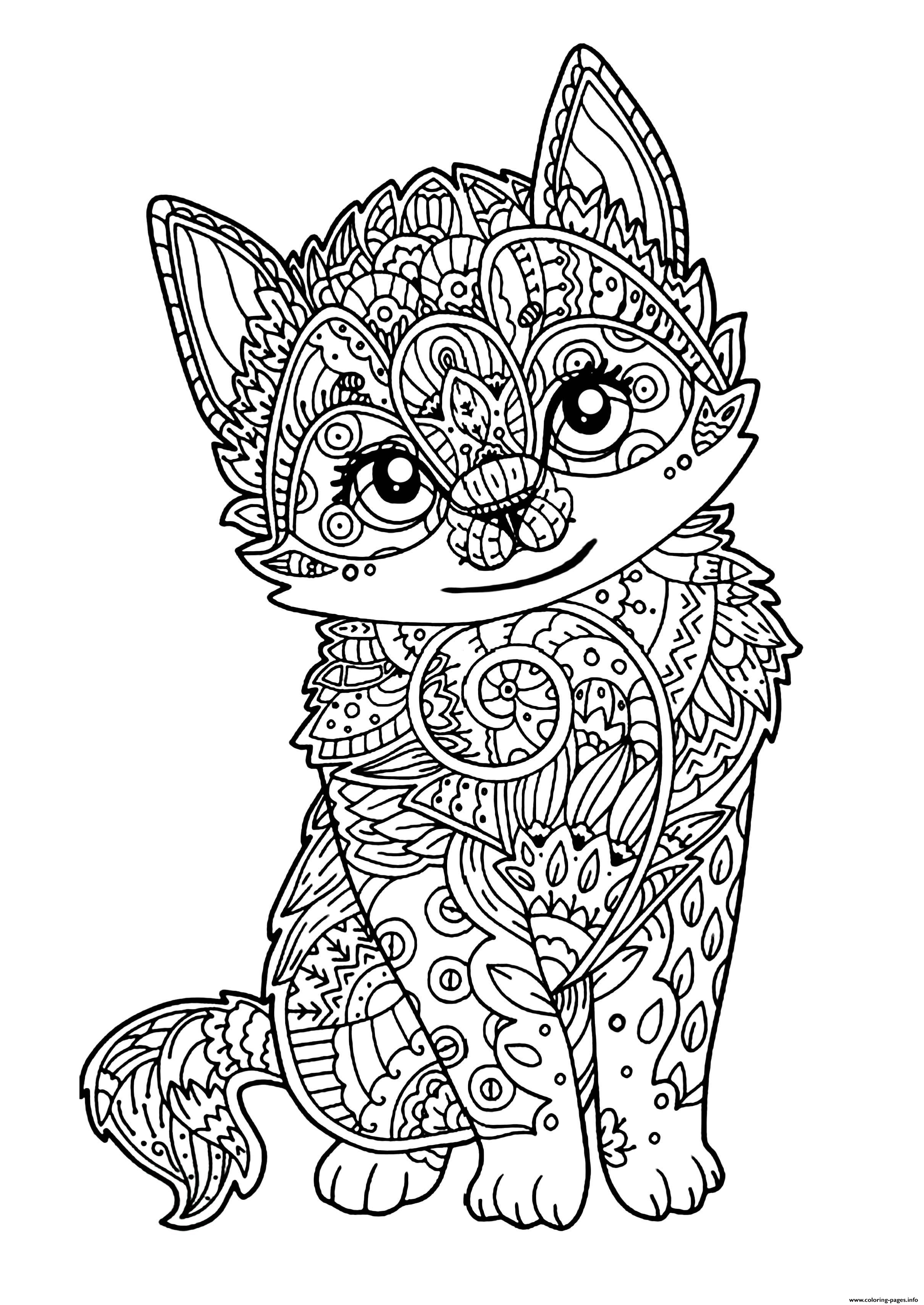 Coloring Pagesfo Cute Cat Adult Zentangle