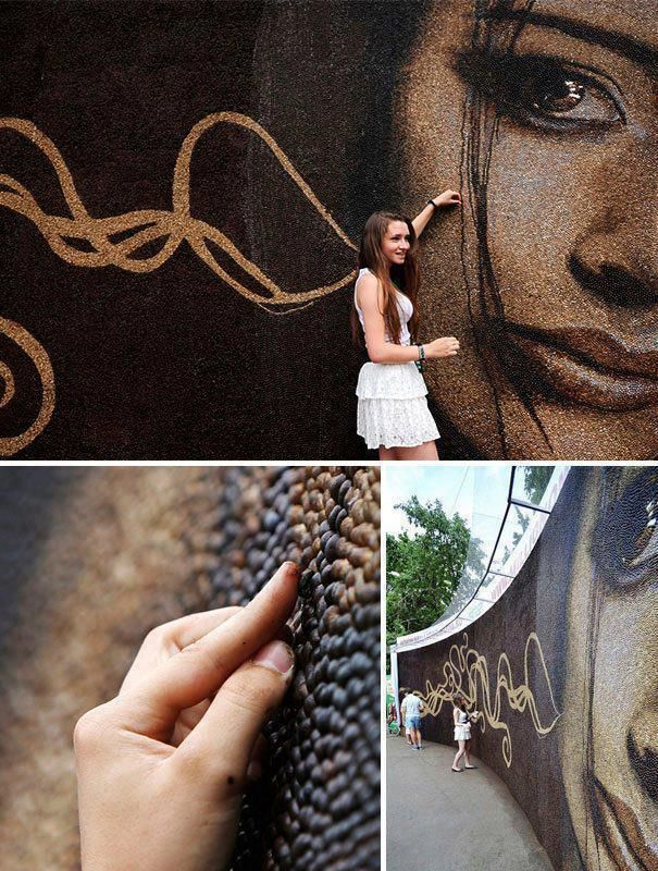 World's Largest Coffee Mosaic Made of 1 Million Coffee Beans by Arkady Kim #art #coffee