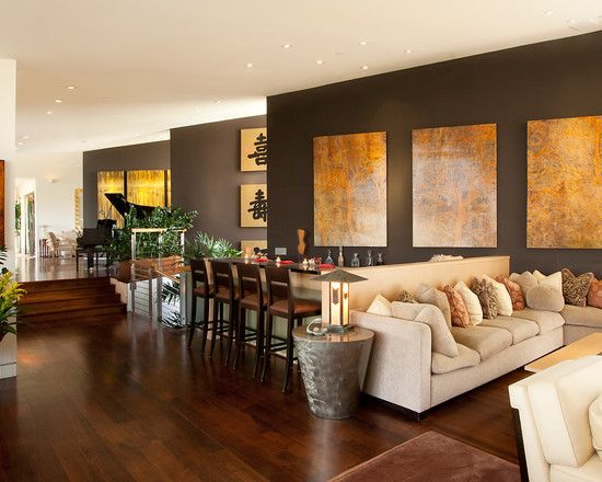 """""""I love very dark accent walls!  You can get this look with Sherwin's Turkish Coffee/6076 or Ben Moore's Bittersweet Chocolate/2114-10."""