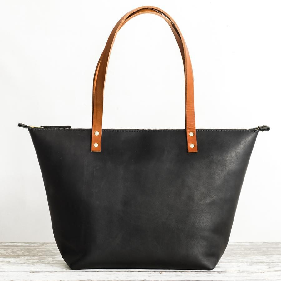 2021bb01eb06 black leather zipper tote with outside pocket and tan bridle handles ...
