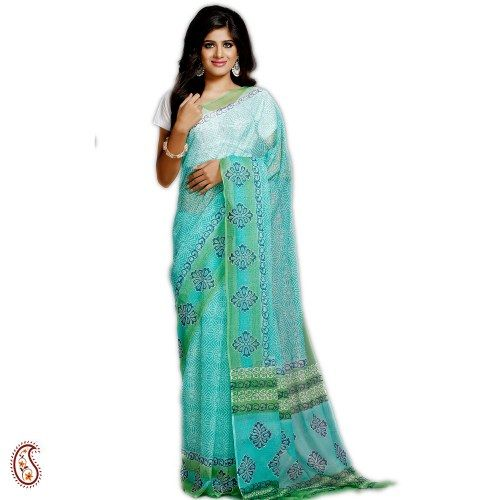 aabd71edaa Aqua Green Hand Block KHARI Print Kota Doria Sari | Sarees | Sari ...