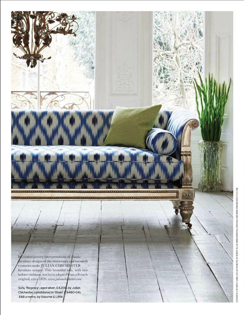 Indigo Blue and white upholstery fabric White upholstery