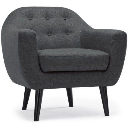 Intense déco fauteuil style scandinave dita tissu gris foncé amazon fr cuisine