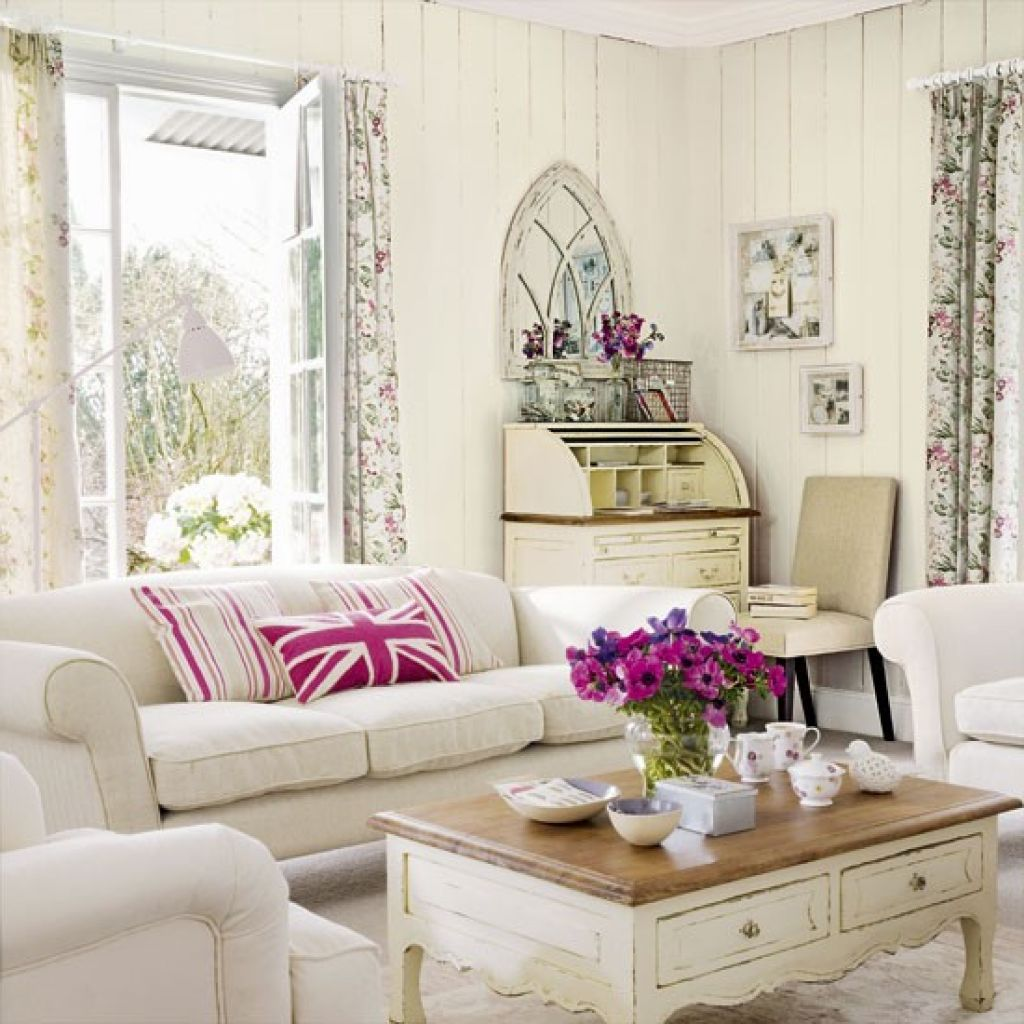 Vintage Style Living Room Furniture With White Colors | Cottage ...