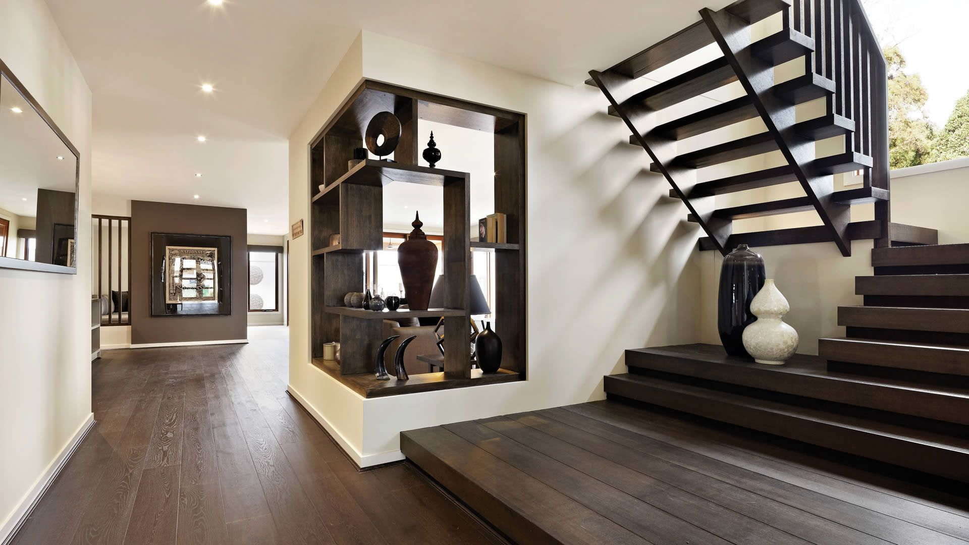 House Design Wooden Staircase Ideas Plus White Black Ceramic Vase With Cornet Shelves Idea And Large Mirror In Modern Interior Designs The