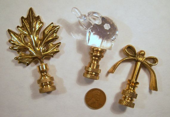 Finials For Lamps Amazing Three Vintage Lamp Finials Elephant Leaf And A Bow  Elephant Stuff