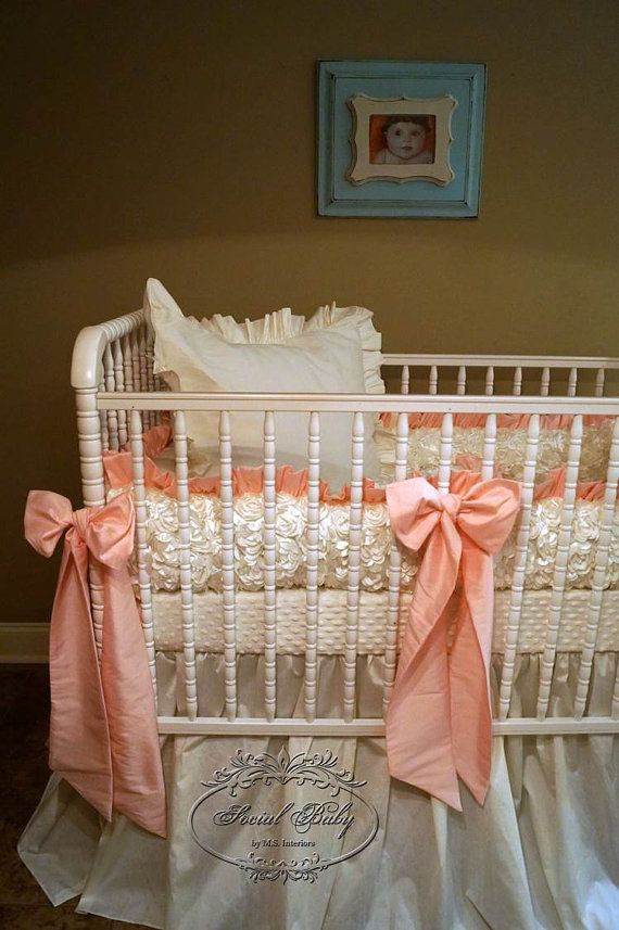 Crib Bedding in Ivory Rosettes and Coral Bows - many colors available, by Social Baby