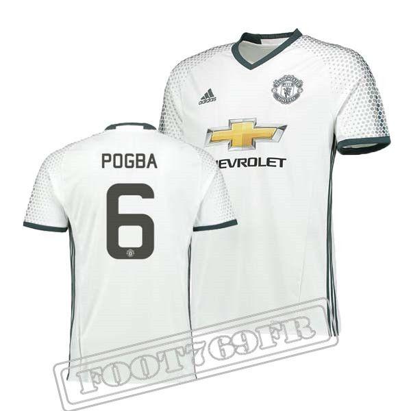 Nouveau Maillot Pogba 6 Manchester United Homme BlancNoir