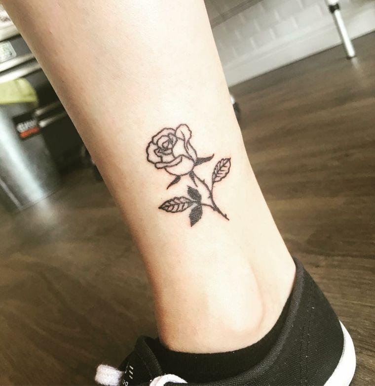 rosa stile tradizionale. bellissima idea per un tatto sulla caviglia,  significato tatuaggio rosa