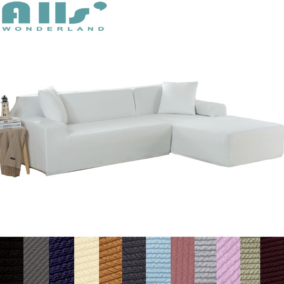 Solid Color Sofa Slipcover L Shaped Elastic Couch Covers Modern