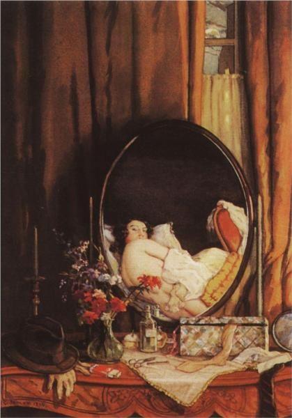 Page : Intimate Reflection in the Mirror on the Dressing Table / Artist : Konstantin Somov / Date : 1934 / 테이블 위를 그린 그림인데, 거울 안에 거울을 바라보고 있는 여성이 그려져 있다. 상징주의 사조에 속한 작품으로 보아 내적 세계나 관념적 세계를 보여주기 위해 그린 것으로 보인다. 거울은 작품의 틀 너머의 것을 보여줌으로써 인식의 장을 넓혀주는 역할을 한다.