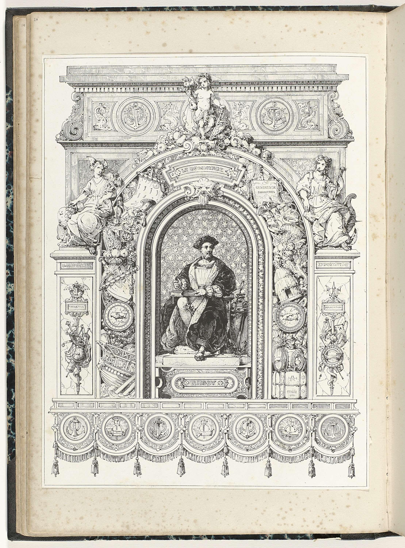 Anonymous | Man in nis, Anonymous, c. 1866 - c. 1900 | De nis bevindt zich onder een rijk gedecoreerde boog, waartegen aan de linkerkant Mercurius leunt.