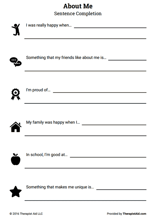 About Me: Self-Esteem Sentence Completion (Worksheet | High ...
