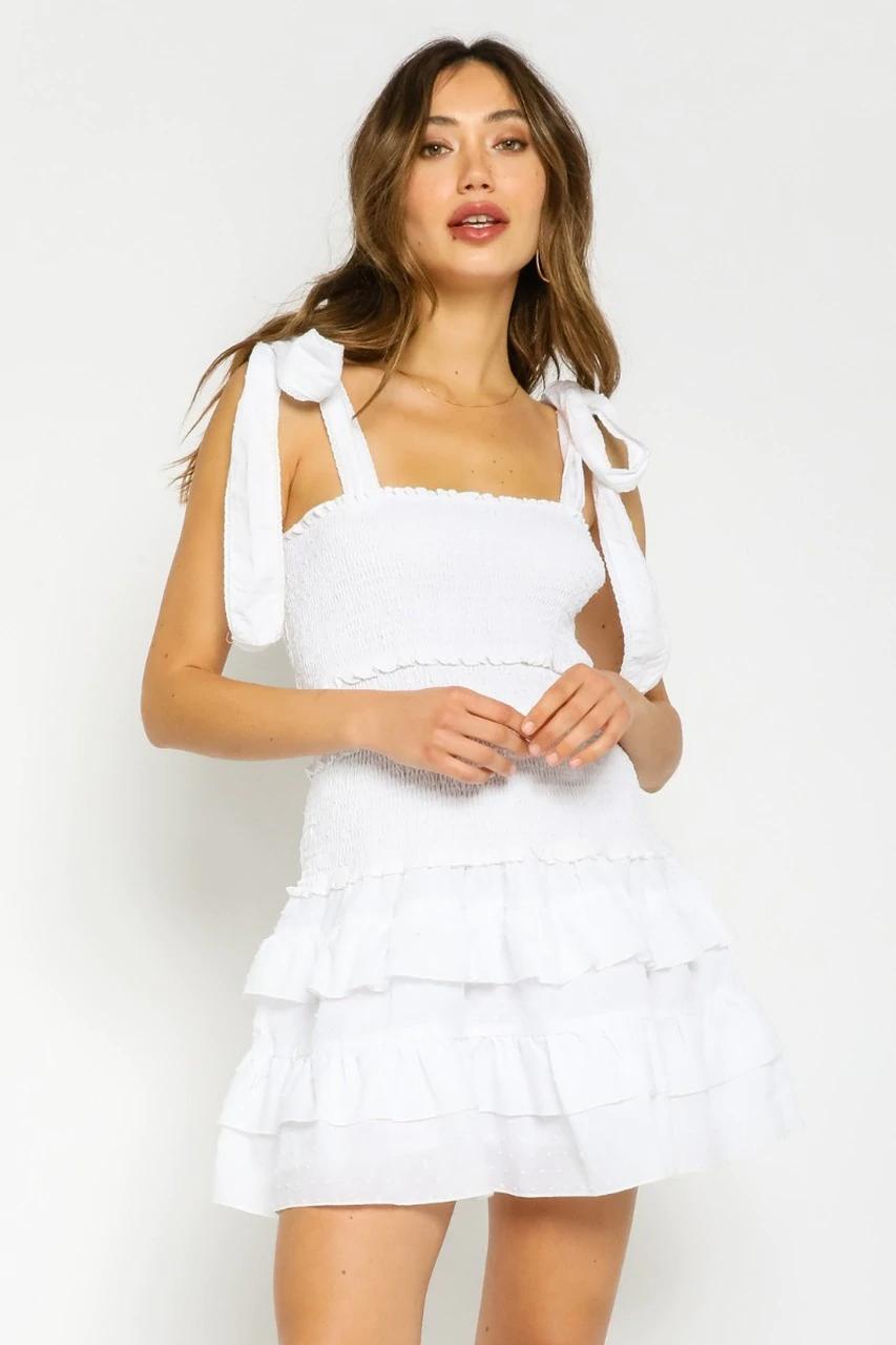 White Tie Strap Mini Dress In 2021 White Polka Dot Dress Rush Dresses Polka Dot Dress [ 1280 x 853 Pixel ]