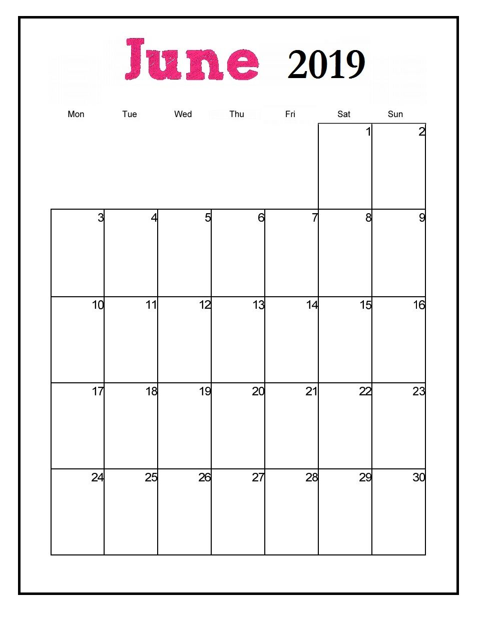 Printable 2019 Vertical Monthly Calendar June 2019 Calendar