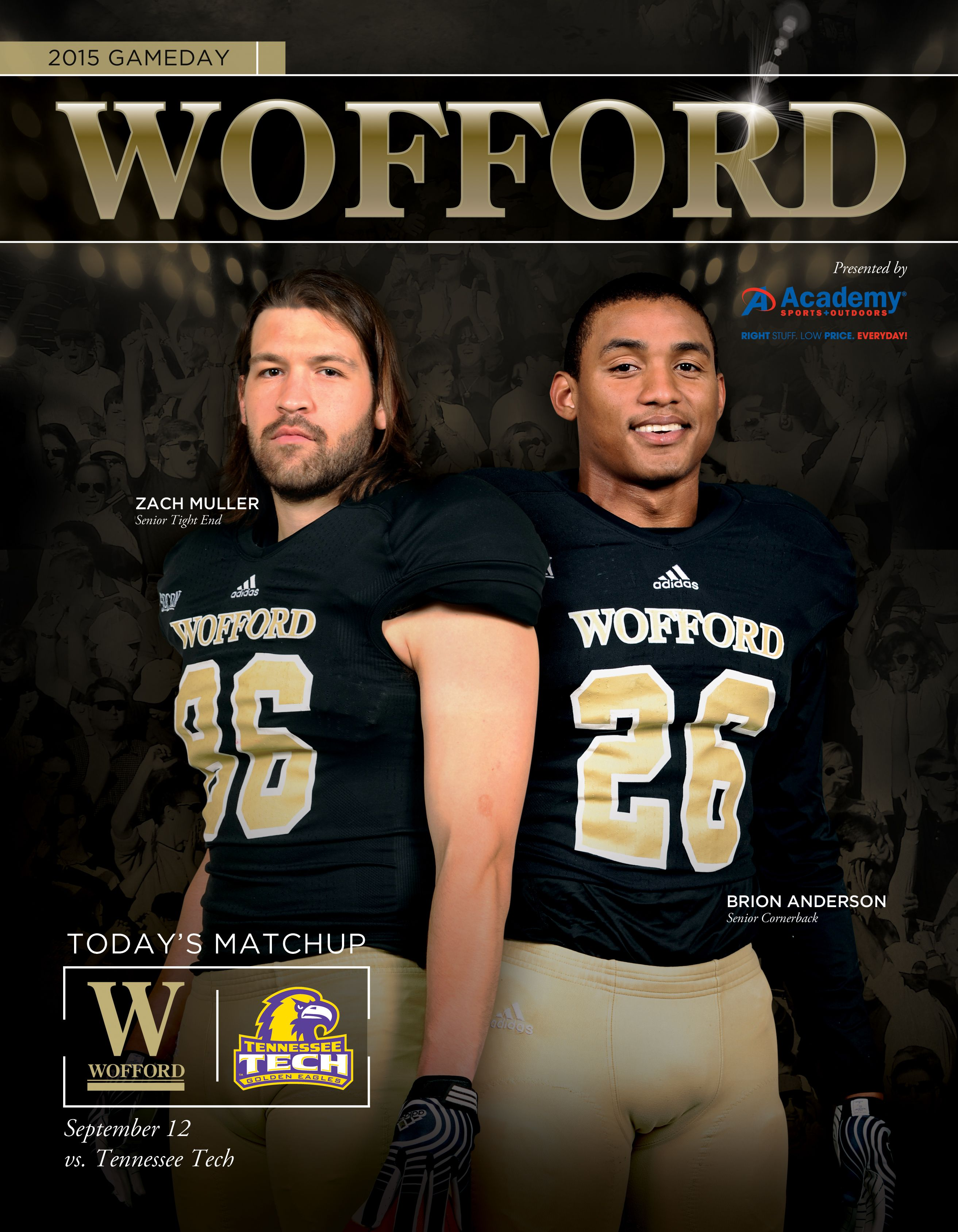 2015 Woffordcollege Football Gameday Roster Card Vs Tennessee Tech On September 12 2015 Cover Features Zach Muller And Br College Athletics Gameday Lineman