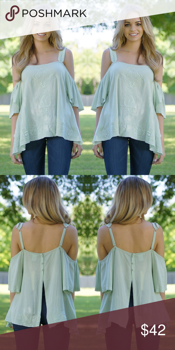 NEW  | Isabella Top As sweet as they get this is an open shoulder gauze top detailed with embroidery on the front and ladder lace trim along the straps. It features adjustable straps and an a top-buttoned open back.  Self: 100% Rayon  Contrast: 100% Polyester  Model is wearing a size small Tops