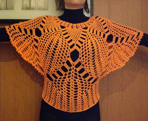 Bat luva blusa Instruções de crochê