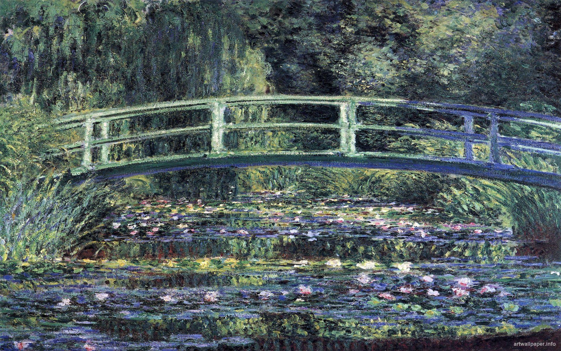 Water Lily Pond Blue Landscapes Art Print