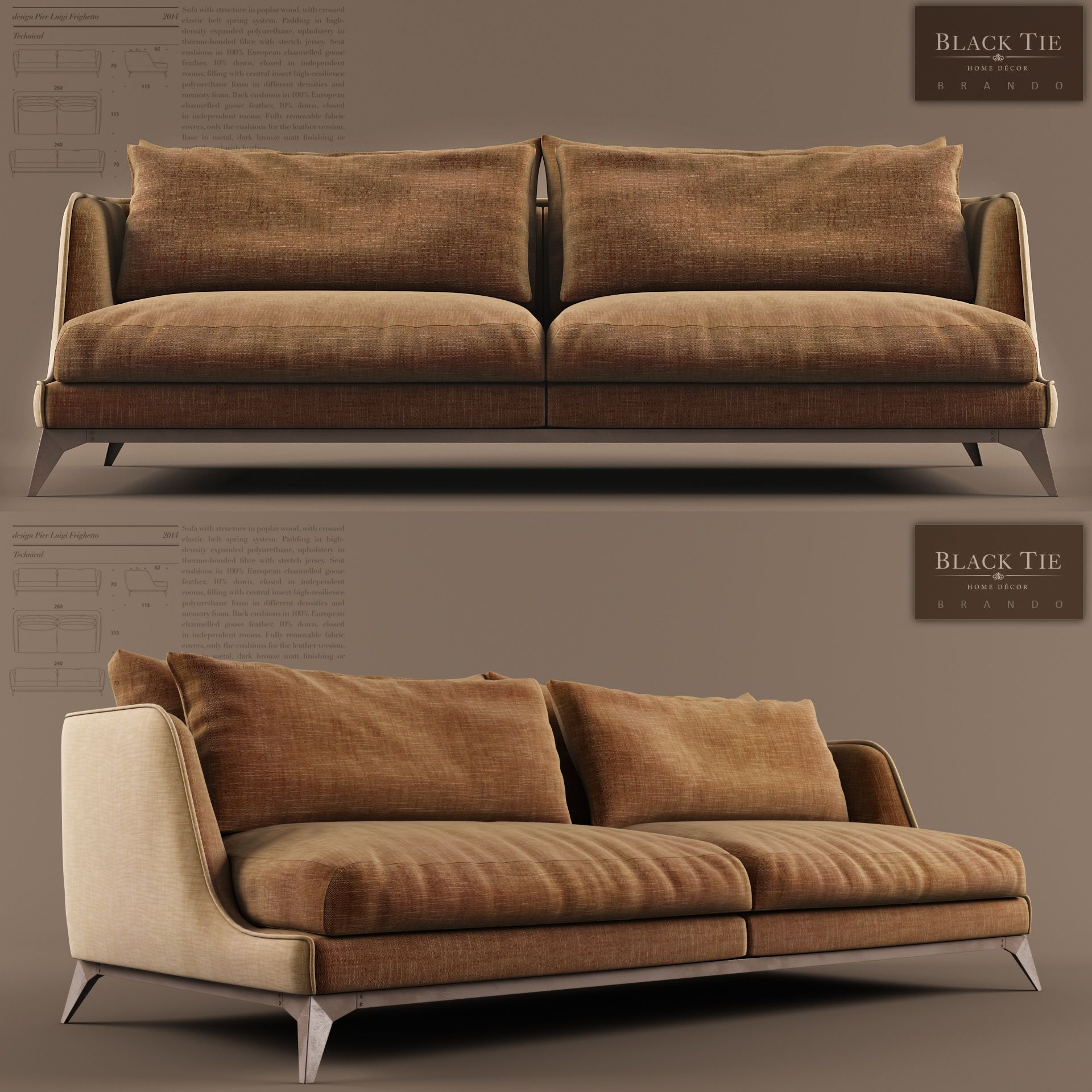 Design By Pier Luigi Frighetto Sofa With Structure In Poplar Wood With Crossed Elastic Belt Spring System Padding In High Den Cekyat Mobilya Mobilya Tasarimi
