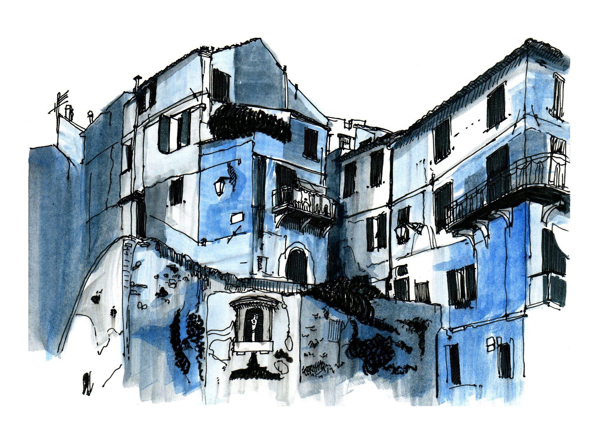 di Cervo Painting, Italian village, Drawings